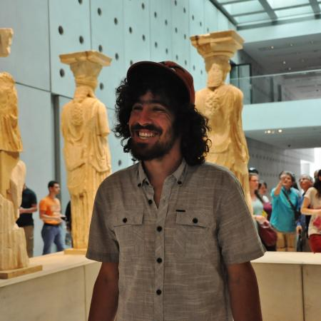 •Back view of the caryatids of the Erechtheion at the new Acropolis Museum